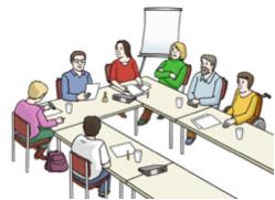 Bild von mehreren Personen in einer Diskussionsrunde