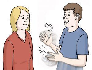 Bild von einer Frau und einem Mann, die sich in Gebärden-Sprache unterhalten